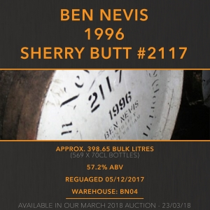 1 Ben Nevis 1996 Sherry Butt #2117 21 Year Old / Cask in storage at Ben Nevis