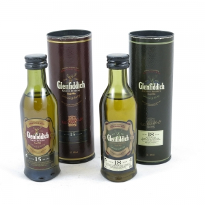 Glenfiddich 15 and 18 Year Old Minatures 2 x 5cl Front