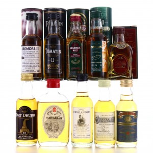 Whisky Miniatures x 10 / includes Glen Grant 10 Year Old 100 Proof