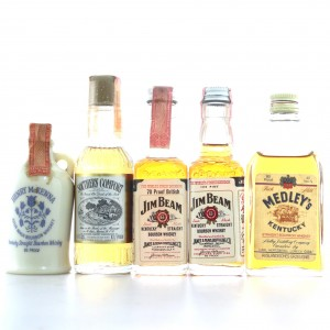Bourbon Miniatures x 5 1970s-80s / includes Henry McKenna
