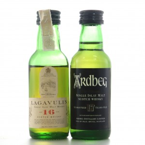 Ardbeg 17 Year Old & Lagavulin 16 Year Old Miniatures 2 x 5cl