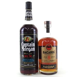 Bacardi 8 Year Old 70cl & Captain Morgan Black Label 1 Litre