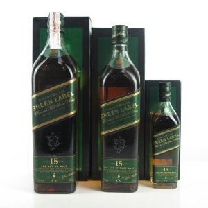 Johnnie Walker Green Label 15 Year Old 1 Litre, 70cl & 20cl