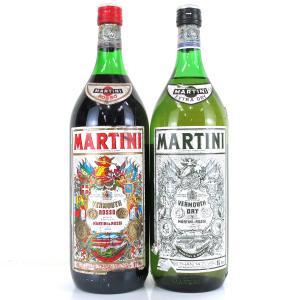 Martini Extra Dry & Rosso Vermouth 2 x 1.5 Litre 1980s