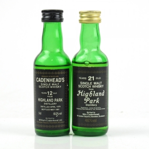 Highland Park 12 Year Old and 21 Year Old Cadenhead's Miniatures