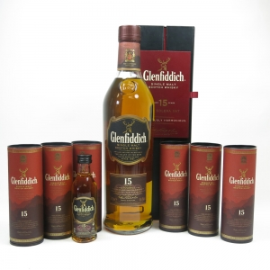 Glenfiddich 15 Year Old and Miniatures x 6