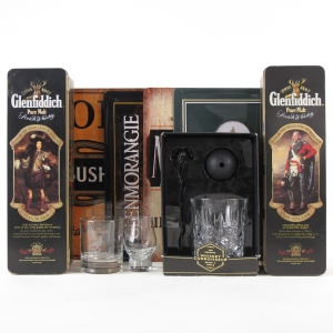 Whisky Memorabilia Selection / Including Metal Advertising Plinths, 2 Glasses, and 2 x Glenfiddich TIns