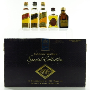 Johnnie Walker Special Collection 500 Years Miniatures 5 x 5cl / includes Johnnie Walker Liqueur