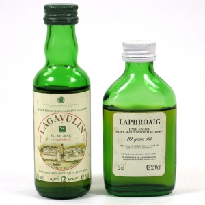 Laphroaig 10 Year Old Unblended and Lagavulin 12 Year Old 2 x 5cl