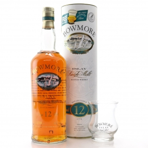 Bowmore 12 Year Old Screen Print 1 Litre 1990s / with Glass