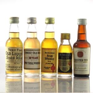 Irish Whiskey Miniatures x 5 1960s/70s