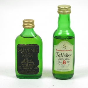 Talisker 8 Year Old and Balvenie 8 Year Old 1980s Miniatures 2 x 5cl