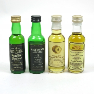 Macallan Miniature Selection / Including Cadenhead's and 1965 Signatory 4 x 5cl