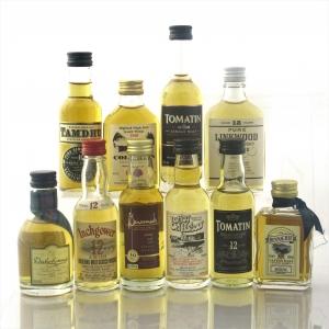 Highland Malt Whisky Miniature Selection x 10 / Including Coleburn 1980