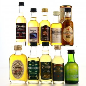 Scotch Whisky Miniatures x 10 / includes Glen Grant 10 Year Old 70 Proof