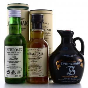 Laphroaig, Springbank & Balvenie Miniatures x 3