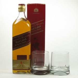 Johnnie Walker Red Label 1 litre Including Two Glasses